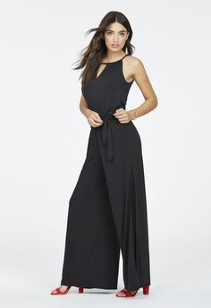 d671e8ecce3 Sheer Panel Wide Leg Jumpsuit in Black - Get great deals at JustFab Halter  Neck