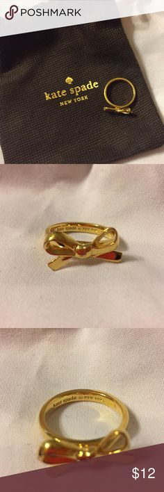 Kate Spade Bow Ring Gold. Size 6. Kate Spade, only worn a handful of times. Some scuffs on the bottom part, shown in photo. Comes with bag kate spade Jewelry Rings