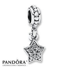 Pandora Dangle Charm CZ Star Sterling Silver