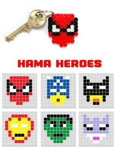 hama/perler bead or cross stitch design ideas 'heroes' - keyrings, charms, jewelry, cards...