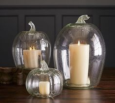 Recycled Glass Pumpkin Candle Cloches #potterybarn