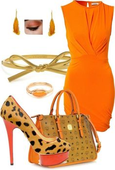 Orange dress and accessories