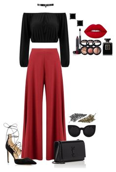 """"""""""" by cdne on Polyvore featuring Boohoo, Sam Edelman, Yves Saint Laurent, Paperself, Fallon, Laura Geller and Lime Crime"""