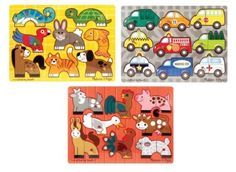 Amazon.com: Melissa & Doug Deluxe Mix 'n Match Peg Puzzle 3 Pack Bundle: Toys & Games
