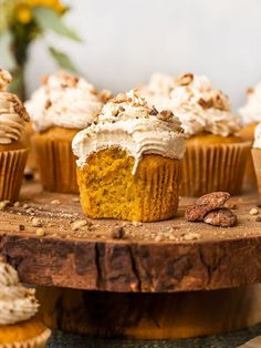 The BEST Vegan Pumpkin Bourbon Cupcakes topped with a homemade vegan maple buttercream frosting! These moist pumpkin cupcakes are made from scratch and use real pumpkin in the batter for a super moist eggless & dairy-free cupcake recipe.The perfect easy pumpkin dessert for Fall, Thanksgiving, Christmas, or Easter! #sgtoeats #veganpumpkincupcakes #pumpkinbourboncupcakes Vegan Frosting, Maple Frosting, Maple Buttercream, Buttercream Frosting, Healthy Vegan Cookies, Healthy Dessert Recipes, Cupcake Recipes, Vegan Recipes, Vegan Sweets
