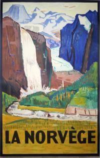 Vintage Travel Poster - Norway/ La Norvège - by Johan Wilhelm Midelfart - Original Vintage, Vintage Art, Poster Photo, Dazzle Camouflage, Vintage Ski Posters, Tourism Poster, Norway Travel, Great Paintings, Europe