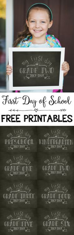 Back-to-School   First Day of School Chalkboard Printables   Kindergarten, Preschool, Grades 1-6