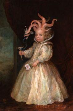 'The Little Princess'' ,(oil on panel) by Omar Rayyan Art And Illustration, Illustrations, Cthulhu, Omar Rayyan, Le Kraken, Fantasy Kunst, Pop Surrealism, Fantastic Art, Horror Art