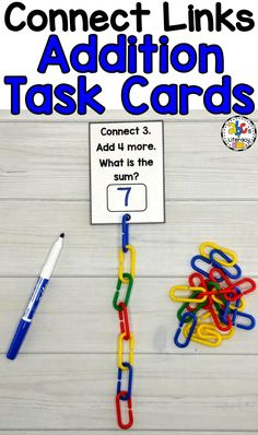 Connect Links Addition Task Cards are a fun, hands-on way for children to practice adding. Connecting the math links together is a great way for children to visually see addition, develop their fine motor skills, and work on their hand and eye coordinatio Teaching Addition, Math Addition, Kindergarten Addition, Math Stations, Math Centers, Kindergarten Activities, Teaching Math, Teaching Ideas, Montessori Activities