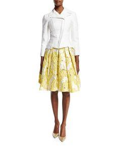 -72E0 Zac Posen  3/4-Sleeve Stretch-Cotton Moto Jacket, White Floral Jacquard Pleated Skirt, Yellow
