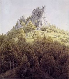 File:Caspar David Friedrich - Der Heldstein bei Rathen an der Elbe Elba, Caspar David Friedrich Paintings, Casper David, Wooded Landscaping, Romantic Paintings, Star Tattoo Designs, Romantic Period, Yellow Art, High Fantasy