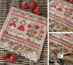 The Strawberry Sisters PDF Digital Cross Stitch Pattern by THE LITTLE STITCHER