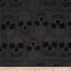 Yorik Skulls Smoke/Black from @fabricdotcom  Designed by The DeLeon Group for Alexander Henry, this cotton print features a skull motif.  Perfect for quilting, apparel and home décor accents.  Colors include grey and black.