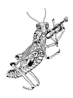 naomese - naomi bardoff's art blog: Anthropomorphic Skunk and Fiddle-Playing Grasshopper
