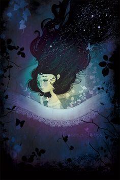 Incubus by *mairimart on deviantART Space Illustration, Digital Illustration, I Love Sleep, Sleep Well, Dream Fantasy, Forest Fairy, Whimsical Art, Medium Art, Art Forms