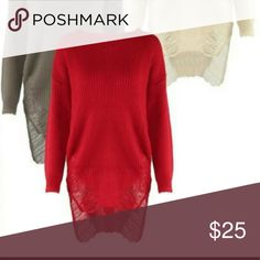 Red ripped high low dress Red dress can be worn with leggings or without Dresses High Low
