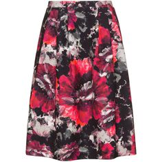 Anna Scholz Grey / Pink Plus Size Printed midi skirt (14.600 RUB) ❤ liked on Polyvore featuring skirts, grey, plus size, a line midi skirt, floral midi skirt, flared midi skirt, pleated skirt and a-line skirt