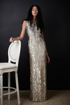 Jenny Packham Pre-Fall 2016: Silver and gold sequins mixed to create this beautiful column dress!