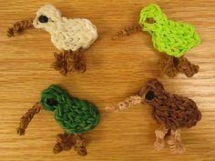 Rainbow Loom Kiwi Bird Charm. Easy
