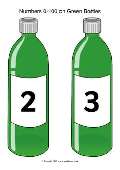 The numbers from 0 to 100 presented on green bottles. Great for use as an accompaniment to the well-known number rhyme or for classroom displays. Sparkle Box, Early Childhood Activities, Free Teaching Resources, Classroom Displays, Grocery Store, Bottles, Numbers, The 100, Preschool