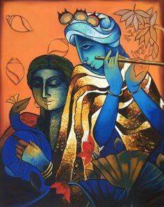 Krishn Radha Hindu Painting Indian Deity Oil on Canvas Hand Painted Decor Art