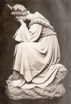 Our Lady of La Salette, in tears (1st stage of the apparition). Scan of a French postcard of 1896. [Public domain], via Wikipedia