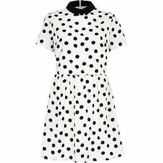 Cream polka dot contrast collar skater dress $24.00