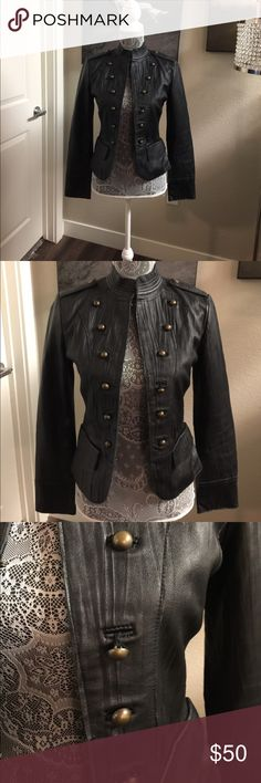 Moda International Black Leather Military Jacket Moda International Black Military Jacket Size 0. Sharp Jacket worn with Luv. Great Condition. Refer to photos of one loose button and very minor wear on the collar. Moda International Jackets & Coats