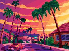 LA sunset by Igor Ianchenko Beach Illustration, Landscape Illustration, Digital Illustration, Vector Illustrations, Sunset Pictures, Cool Pictures, Castle Cartoon, Vaporwave Wallpaper, Art Day