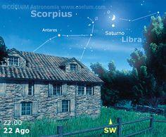 22/8/15 Da non perdere l'ultima #congiunzione notevole del mese: sabato sera #Saturno viene avvicinato, a meno di 2 gradi, da una #Luna quasi al primo quarto. Aspettiamo le vostre migliori immagini su gallery@coelum.com! Desktop Screenshot, Astronomy, Heaven