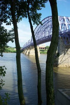 What was once a railroad bridge is now called the Purple People Bridge (foot traffic only) connecting Newport, KY and Cincinnati, Ohio, USA