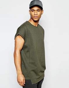 Image 1 of ASOS Super Oversized T-Shirt In Heavyweight Jersey With Seam Detail In Green