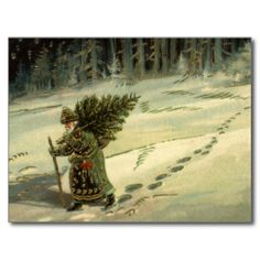 Vintage Santa Claus Carrying a Christmas Tree Post Card can ya hear the snow crunch? {:-)