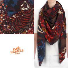 Rare color also HERMES cashmere silk shawls 140 x 140 - BUYMA