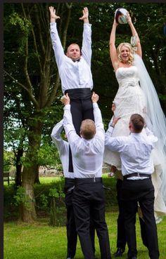 Rugby wedding photo Bride and groom fun photo wedding Lace wedding dress strapless Cathedral veil Tuxedo James Bond wedding theme Cumber band Outside wedding English wedding Cool wedding picture