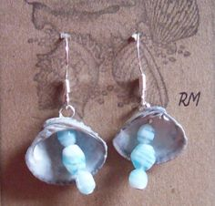 Cockle Shell with natural aquamarine stones by regiooaksartist, $20.00