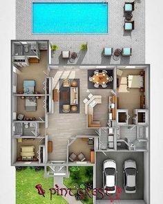 Modern House Plans: 59 Inspiring Models For Conf … – Plantas de Casas Modernas: … Sims House Plans, House Layout Plans, Dream House Plans, House Layouts, Sims 4 Houses Layout, Sims 4 House Design, Bungalow House Design, Small House Design, Modern House Design
