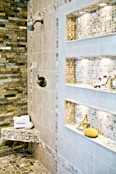 SMJ: We like these shelves inside for the shower area. I like the small tiles inside the shelves with the bigger tiles for the rest of the bathroom. New Bathroom Ideas, Bathroom Spa, Bathroom Inspiration, Master Bathroom, Shower Alcove, All White Bathroom, Small Bathroom, Shower Shelves, Bathroom Shelves