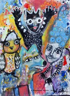 Family Portrait. $80.00 http://stephanieestrin.com #mixedmedia #outsider #gift #art
