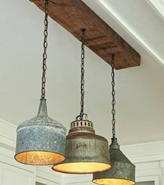 Kitchen: Vintage funnels made into pendant lamps.