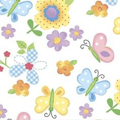 Bunny Patch Flannel Cotton Candy - Butterfly White