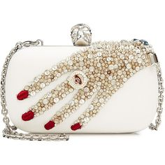 Alexander McQueen Embellished Leather Box Clutch found on Polyvore featuring bags, handbags, clutches, white, skull box clutch, skull handbag, white purse, white handbags and genuine leather purse
