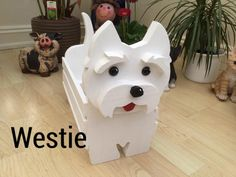 Westie ornament, custom made, wooden dog, plant pot holder, lovely gift for yourself or a loved one Wooden Dog Crate, Wooden Dog Kennels, Wooden Garden Ornaments, Wooden Planters, Wood Animal, Small Wood Projects, West Highland Terrier, Wood Patterns, Wooden Crafts