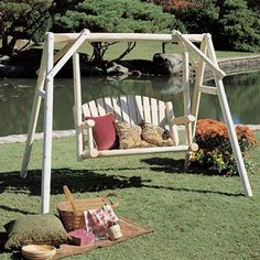 Rustic Natural Cedar Furniture American Garden 5 ft. Log Porch Swing and Stand Set | from hayneedle.com