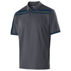 Holloway Men's Carbon/Navy Closed-Hole Charge Polo
