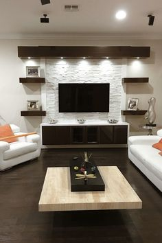 17 DIY Entertainment Center Ideas and Designs For Your New Home Do you have a brand-new house? If so, knowing about DIY entertainment center suggestions may be essential for you. We have 17 inspiration for you Living Room Modern, Home Living Room, Living Room Decor, Tv Wall Ideas Living Room, Living Area, Small Living Rooms, Cozy Living, Family Rooms, Simple Living