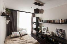 ремонт в маленькой студии Curtains, Living Room, Bedroom, Furniture, Apartments, Home Decor, Sleep, Interiors, Blinds