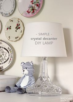 DIY lamp made from a crystal decanter bottle