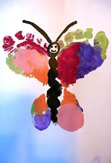 Butterfly Foot Prints:  Children in preschool would love to make this butterfly.  The concept of symmetry could be discussed prior to making the butterflies.  Of course, however the butterflies turn out is great, which is a DAP.  There is no wrong or right ways to create art!