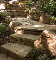 Garden Steps On A Slope Ideas Garden Stepping Stones Garden Steps On A Slope Ideas. One of the most versatile, easy to use and imaginative accessories for your garden is the stepping stone. Flagstone Pathway, Stone Walkway, Stone Steps, Rock Steps, Landscaping On A Hill, Landscaping With Rocks, Landscaping Ideas, Outdoor Landscaping, Shade Landscaping